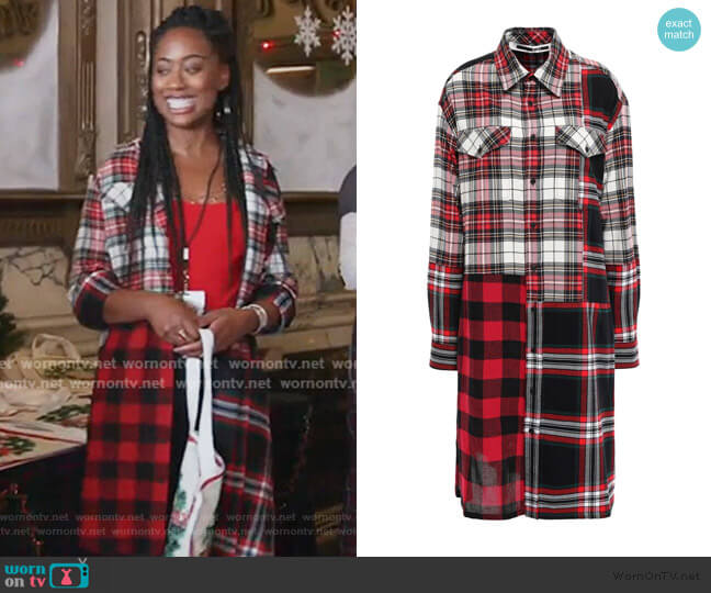 Patchwork-effect checked cotton and wool-blend shirt dress by McQ Alexander McQueen worn by Malika Williams (Zuri Adele) on Good Trouble