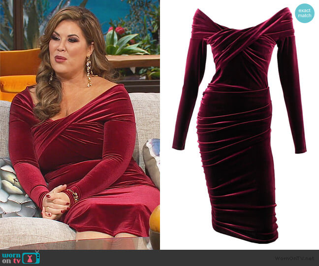 Cliff Hanger Red Wine Velvet Dress by Me & Thee worn by Emily Simpson  on The Real Housewives of Orange County