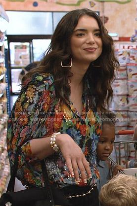 Megan's metallic floral blouse on Shameless