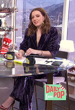 Melanie's purple velvet suit on E! News