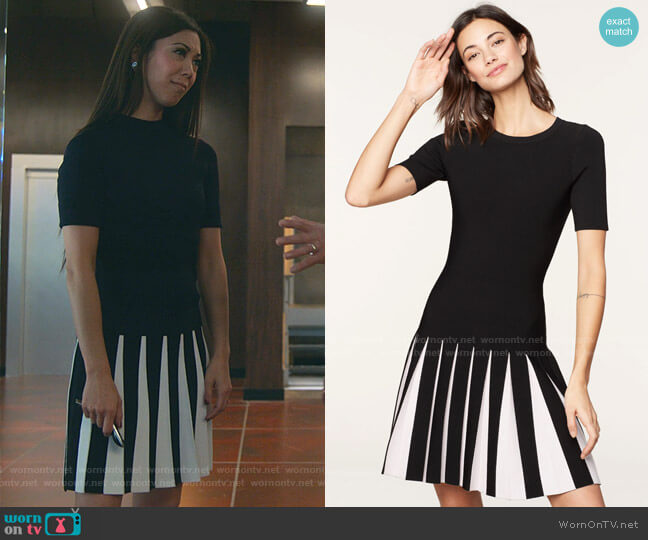 Pleated Contrast Dress by Milly worn by Tina Minoru (Brittany Ishibashi) on Marvels Runaways