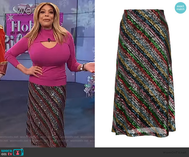 Sequinned Midi Skirt by Milly worn by Wendy Williams  on The Wendy Williams Show