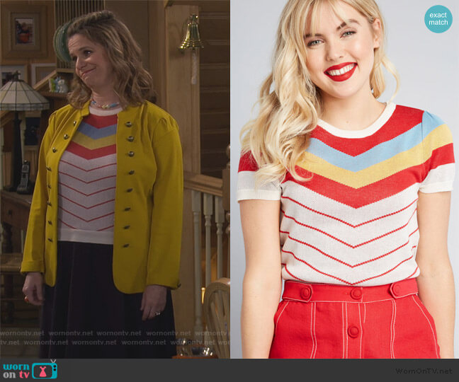 Nostalgic Bliss Short Sleeve Sweater by Modcloth worn by Kimmy Gibbler (Andrea Barber) on Fuller House