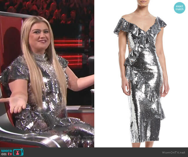 Illusion-Neck Slim Tea-Length Cocktail Dress by Monique Lhuillier worn by Kelly Clarkson  on The Voice