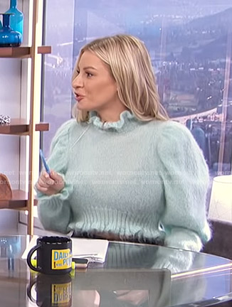 Morgan's mint green ruffled puff sleeve sweater on E! News Daily Pop