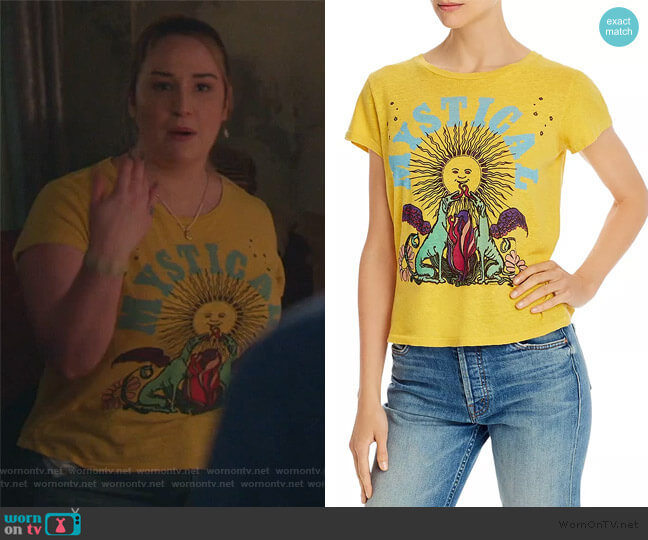 The Boxy Goodie Goodie Mystical Tee by Mother worn by Davia (Emma Hunton) on Good Trouble