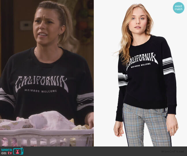 The Square Weirdos Welcome Sweater by Mother worn by Stephanie Tanner (Jodie Sweetin) on Fuller House