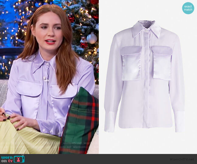Violet crepe and satin shirt by N Duo worn by Karen Gillan on The Kelly Clarkson Show