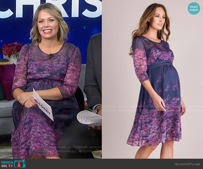 Floral Silk Maternity Dress by Seraphine worn by Dylan Dreyer  on Today