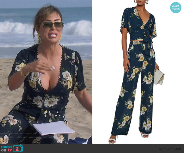 Cropped belted floral-print silk-crepe top and pants by Nicholas worn by Kelly Dodd  on The Real Housewives of Orange County
