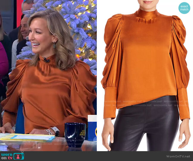 Missy Balloon Sleeve Silk Blouse by Notes du Nord worn by Lara Spencer  on Good Morning America