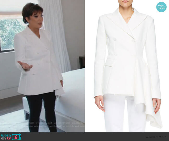 Asymmetric Formal Jacket by Off-White worn by Kris Jenner  on Keeping Up with the Kardashians
