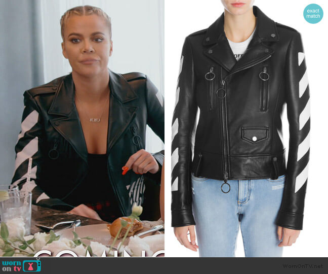 Diag Leather Biker Jacket by Off-White worn by Khloe Kardashian  on Keeping Up with the Kardashians