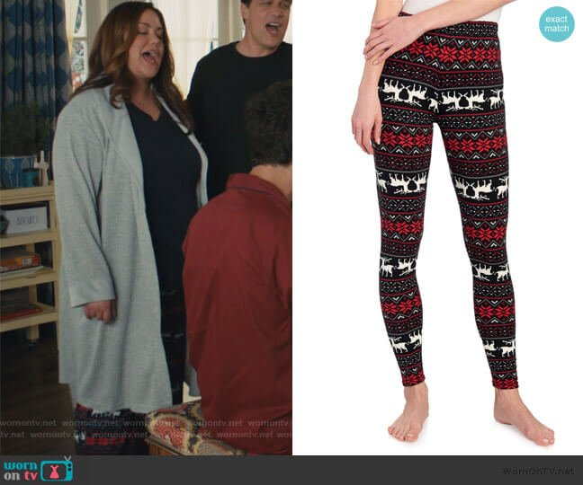 Reindeer Fairisle Christmas Leggings by One 5 One worn by Katie Otto (Katy Mixon) on American Housewife