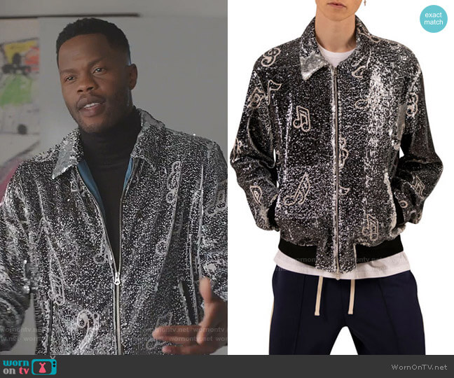 Sequined Music Note Jacket by Ovadia & Sons worn by Jeff Colby (Sam Adegoke) on Dynasty