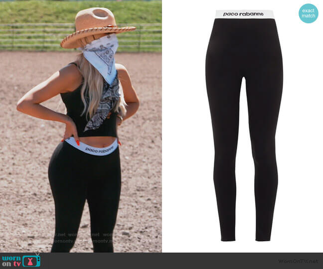 Logo-hem jersey stirrup leggings by Paco Rabanne worn by Khloe Kardashian  on Keeping Up with the Kardashians