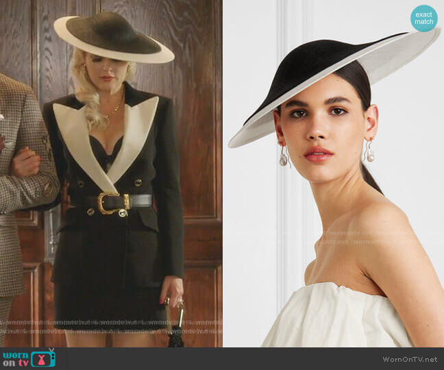 Two-tone sinamay straw hat by Philip Treacy worn by Alexis Carrington (Elaine Hendrix) on Dynasty