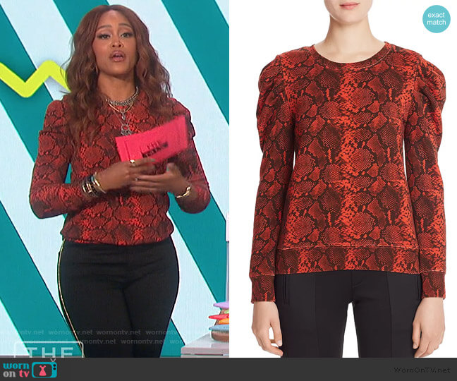 Puff-Shoulder Snake Print Sweatshirt by Pam & Gela worn by Eve  on The Talk