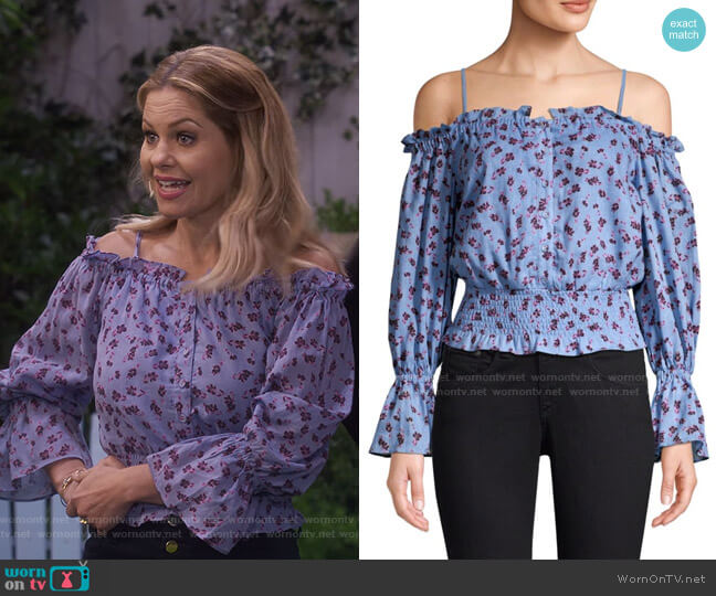 Tori Cold Shoulder Smocked Waist Floral Blouse by Parker worn by DJ Tanner-Fuller (Candace Cameron Bure) on Fuller House
