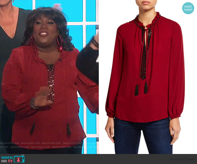 Paula Embellished Silk Blouse by Kobi Halperin worn by Sheryl Underwood  on The Talk