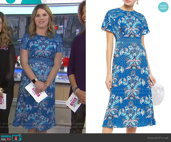 Floral-Print Cloqué Midi Dress by Peter Pilotto worn by Jenna Bush Hager  on Today