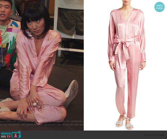 Belted Satin Jumpsuit by 3.1 Phillip Lim worn by Mei Lin (Poppy Liu) on Sunnyside