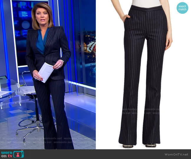 Pinstripe Wool Pants by Alexander Mcqueen worn by Norah O'Donnell  on CBS Evening News