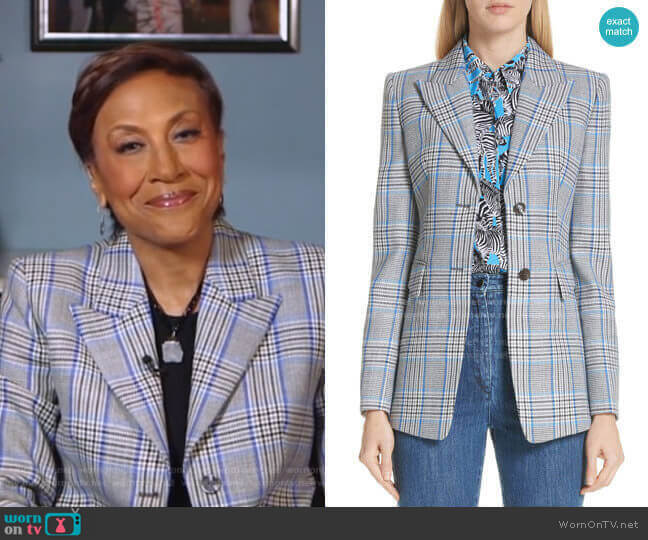 Plaid Pressed Wool Blazer by Michael Kors worn by Robin Roberts  on Good Morning America