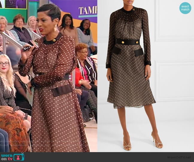 Belted polka-dot chiffon midi dress by Prada worn by Tamron Hall  on Tamron Hall Show
