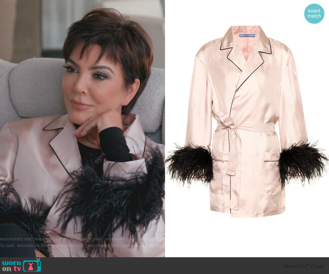 Feather trimmed silk shirt by Prada worn by Kris Jenner  on Keeping Up with the Kardashians