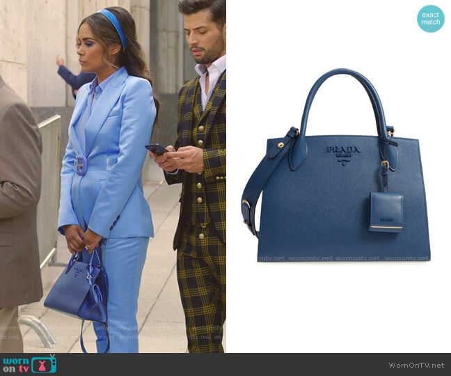 Monochrome Saffiano Tote by Prada worn by Cristal Jennings (Daniella Alonso) on Dynasty