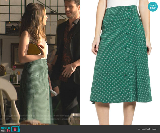 Print Midi Skirt in Green Eden Dots by Chelsea28 worn by Love Quinn (Victoria Pedretti) on You
