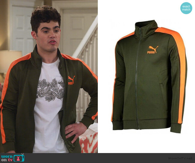 T7 Track Jacket in Forest Night by Puma worn by Emery Kelly on Alexa and Katie