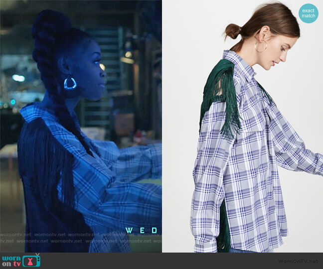 Plaid Button Down Shirt with Fringe Back by PushBUTTON worn by Anissa Pierce (Nafessa Williams) on Black Lightning
