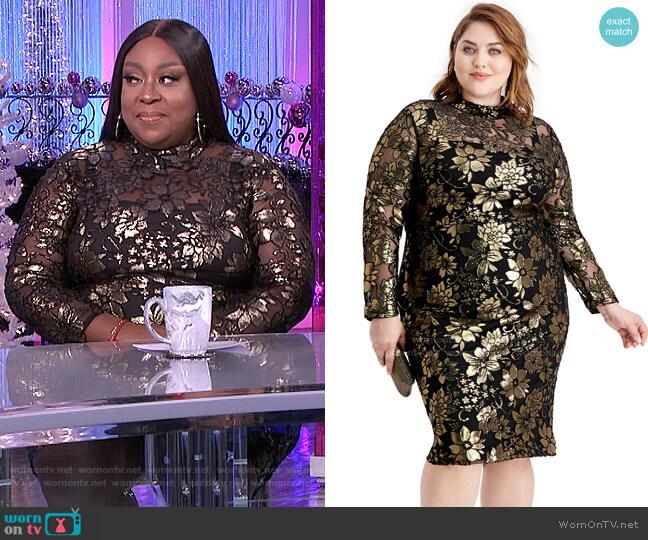 Plus Size Metallic Mock-Neck Dress by RACHEL Rachel Roy worn by Loni Love  on The Real
