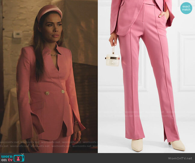 Sienna Crepe Straight-Leg Pants by Rebecca Vallance worn by Cristal Jennings (Daniella Alonso) on Dynasty