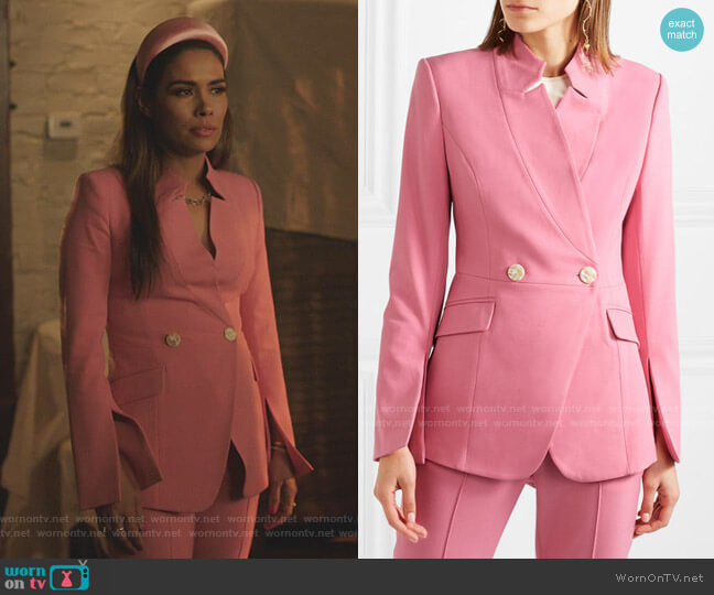 Sienna Double-Breasted Crepe Blazer by Rebecca Vallance worn by Cristal Jennings (Daniella Alonso) on Dynasty