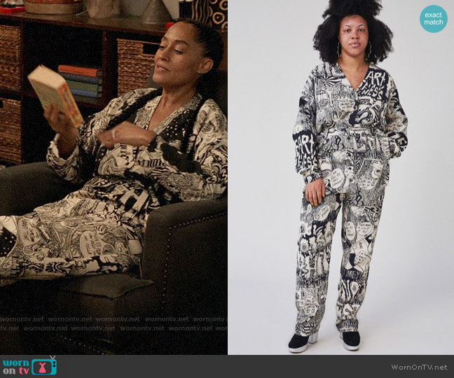 Rachel Comey Glitch Jumpsuit in Black Chatter Viscose Lino worn by Rainbow Johnson (Tracee Ellis Ross) on Blackish