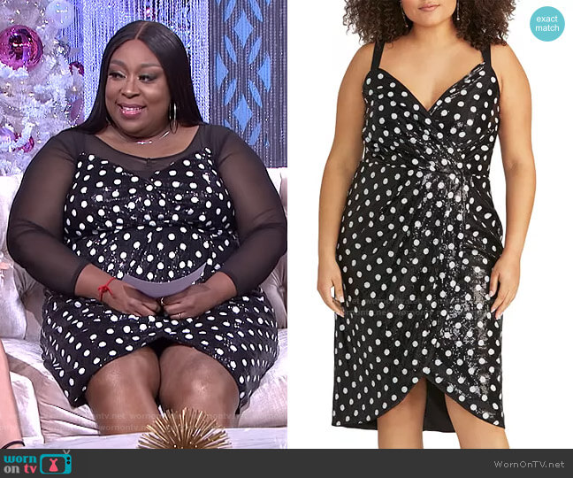 Faye Sequined Polka-Dot Dress by RACHEL Rachel Roy worn by Loni Love  on The Real