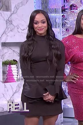 Rachel Lindsay's black bell sleeve mini dress on The Real