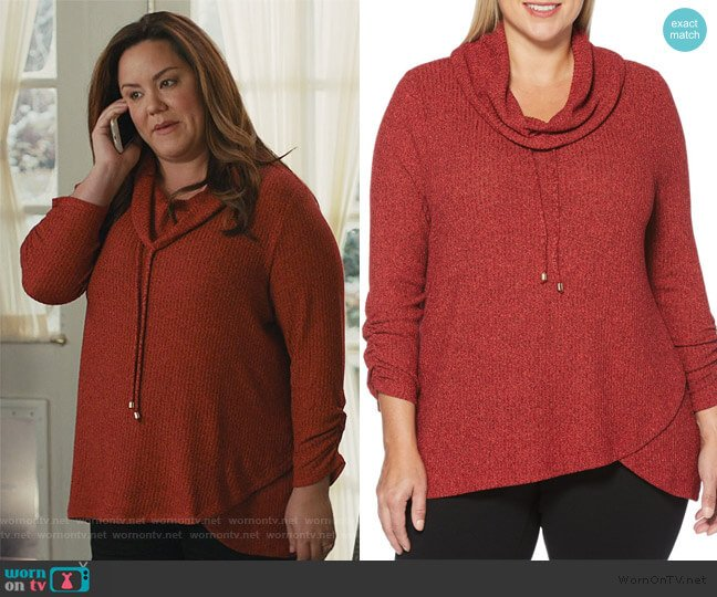 Plus Marled Cowlneck Sweater by Rafaella worn by Katie Otto (Katy Mixon) on American Housewife