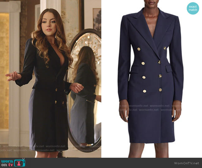 Wellesley Double-Breasted Wool Coat Dress by Ralph Lauren Collection worn by Fallon Carrington (Elizabeth Gillies) on Dynasty