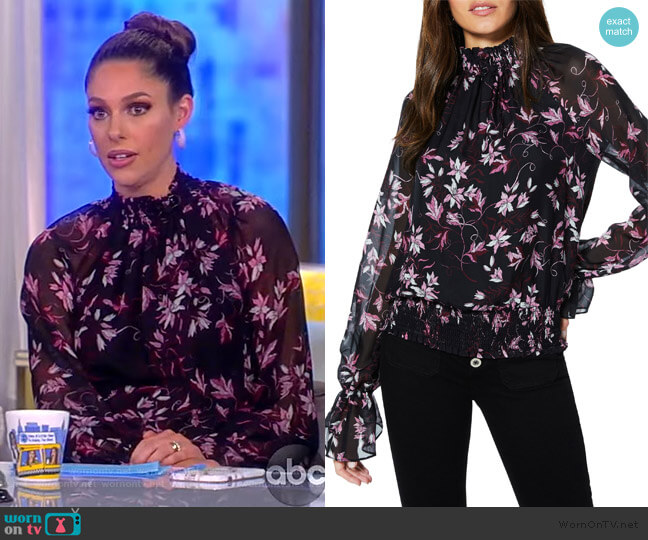 Keisha Smocked Silk Blouse by Ramy Brook worn by Abby Huntsman  on The View