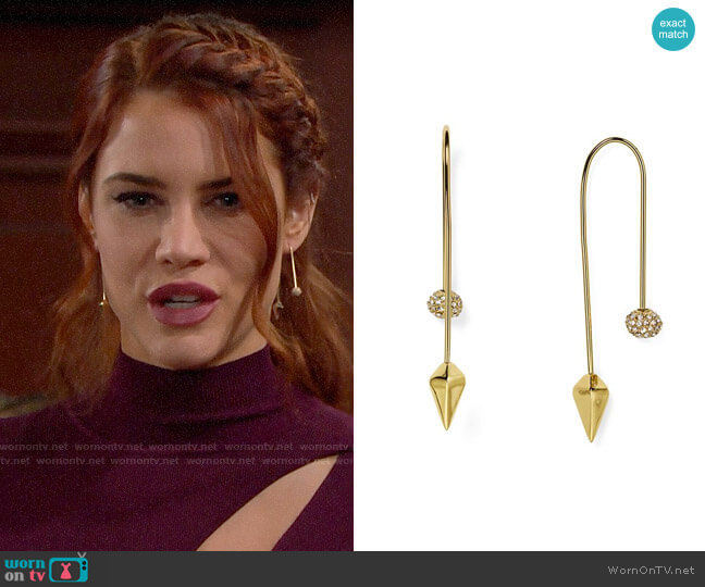 Rebecca Minkoff Pavé Ball Threader Earrings  worn by Sally Spectra (Courtney Hope) on The Bold & the Beautiful