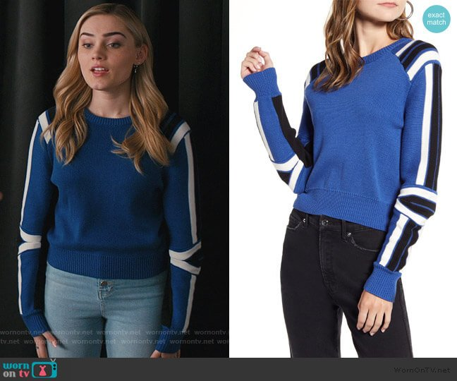 Stripe Detail Cotton Blend Sweater by Rebecca Minkoff worn by Taylor Otto (Meg Donnelly) on American Housewife