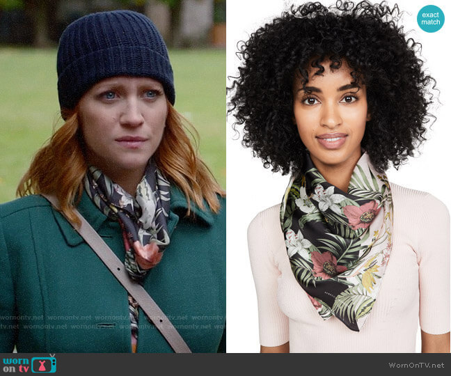 Rebecca Minkoff Tropical Splice Square Scarf worn by Julia Bechley (Brittany Snow) on Almost Family