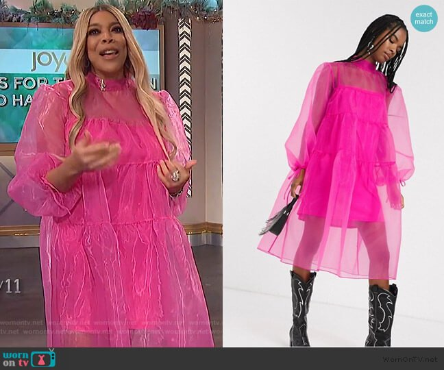 Inspired Organza Midi Smock Dress by Reclaimed Vintage worn by Wendy Williams  on The Wendy Williams Show