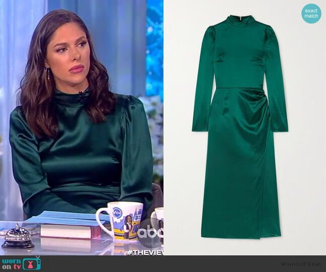 Carmelina gathered silk-satin midi dress by Reformation worn by Abby Huntsman  on The View
