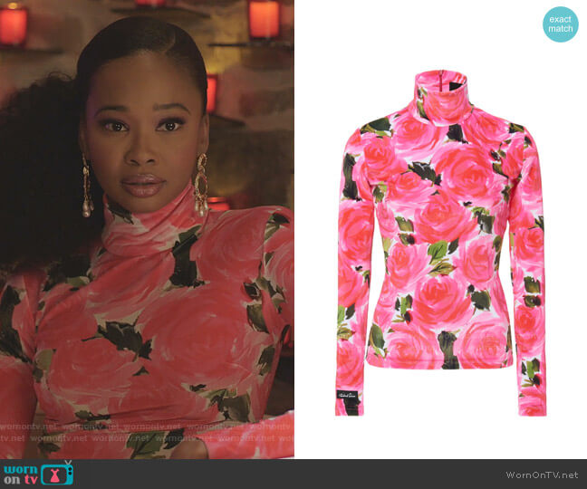 Rose Garden Floral-Print Stretch-Knit Turtleneck Top by Richard Quinn worn by Monica Colby (Wakeema Hollis) on Dynasty