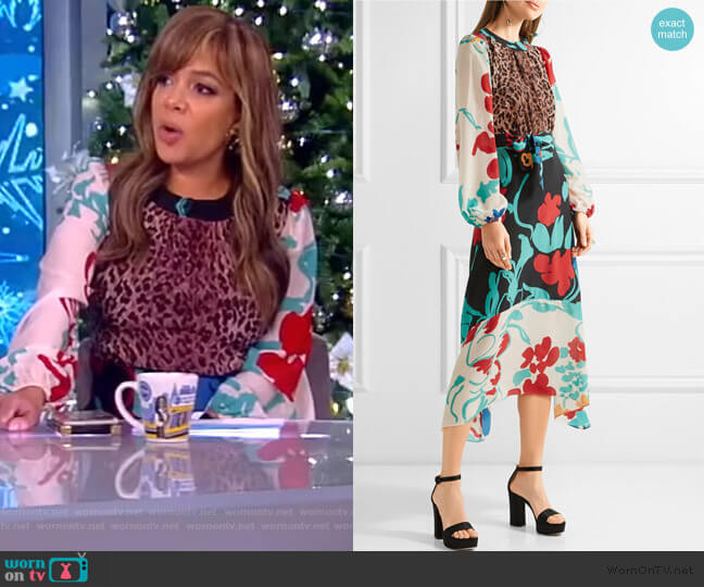 Penelope printed silk midi dress by Rixo worn by Sunny Hostin  on The View